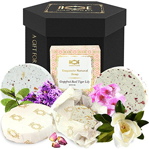 Premium Bath Bombs Gift Set - w/ Lush Handmade Soap Plus BONUS Aromatherapy Bath Salts - Moisturizing Water Dissolving Fizzies Bubble & Melt Stress to Relax Body & Mind. Perfect Gift For Him or Her