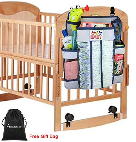 Amamcy Baby Nursery Organizer & Diaper Caddy, Crib Changing Table Hanging Storage Organizer for Baby Essentials boy or - Basket Changing Table For Hanging