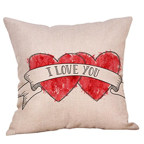 Sweet Love Letters (Happliness Lover Couples Throw Pillow Case 18 x 18 Inches Red Sweet Letter Printing