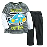 Captain Meow Baby boys' Long Sleeve Infant Clothing Set T-shirt And Pants Helicopter 6T