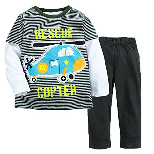 Endymion Meow Baby boys' Long Sleeve Infant Clothing Set T-shirt And Pants Helicopter 6T