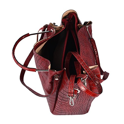 Color Woman Genuine Tuscan Leather Bag In Shoulder Made Italy Bag Red Leather 76H1nYq