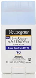Neutrogena Ultra Sheer Sunscreen, Face & Body Stick, Broad Spectrum SPF 70, 1.5 oz (Pack of 2)