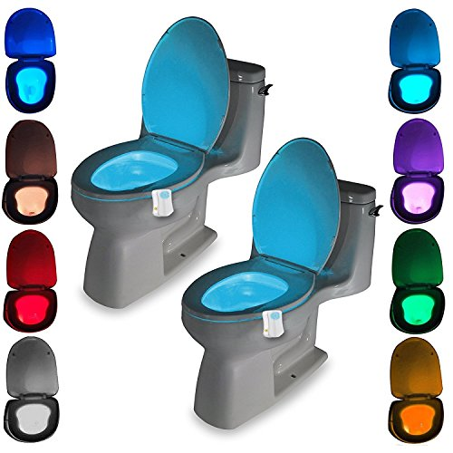 Toilet LED Color Changing Light, [Pack of 2] Water-Resistant Smart Motion Activated Toilet LED Night Light Washroom Restroom Toilet Light with Motion Sensor Auto ON/OFF and 8 Changing Colors