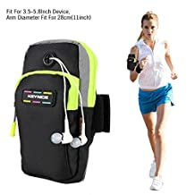 """Kainnt Breathable Sports Armband, Dual&Multifunctional Pockets Armband for jogging, and running , Armband for iphone 7,7 plus, 6,6plus,6s,6s plus 5,5s,5c,Galaxy S5,S4 and all """"3.5~5.8"""" Smartphones"""