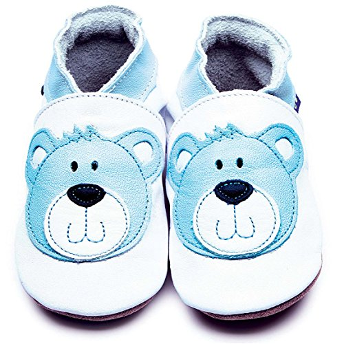Inch Blue Mädchen/Jungen Schuhe für den Kinderwagen aus luxuriösem Leder - Weiche Sohle - Teddy Weiß