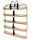 Famous PANA Brand Nail Polish Wall Display Organizer Rack (Fit up to 60 Nail Polish bottles) (5 Rows Medium Size Metal Frame, Unbreakable) (BRONZE Color)
