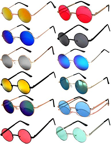 Sunglasses Colored Wayfarer (Round Retro Vintage Mirror Lens Gradient Lens Sunglasses Metal Frame 12 Pack Mix – Red Yellow Blue Green Pink Purple Smoke OWL)