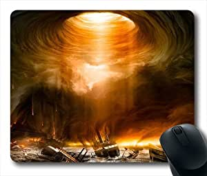 Hell Strom Abstract Fantasy Oblong Shaped Mouse Mat by runtopwell
