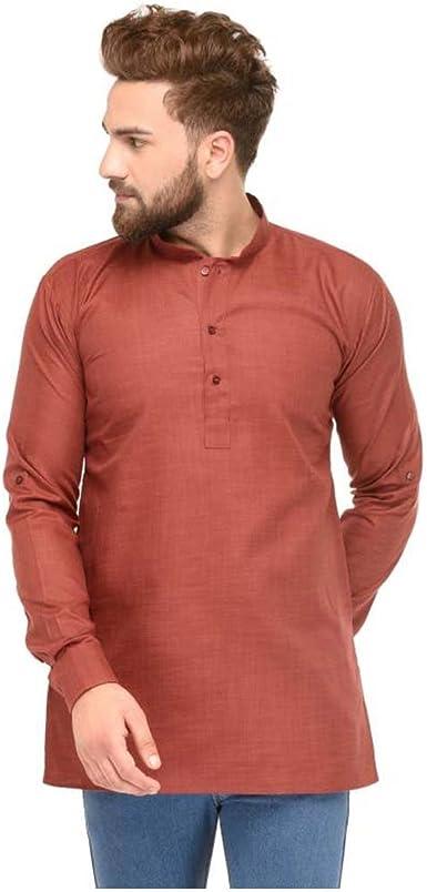 Indian Handicrfats Export Mens Pink Solid Half Sleeve Kurta