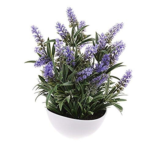 MARJON FlowersArtificial Lavender Flowers and Foliage in a White Bowl