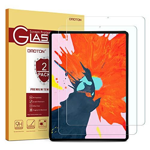OMOTON Tempered Glass Screen Protector Compatible with All New All Screen iPad Pro 12.9-inch 2018 Release [2 Pack]