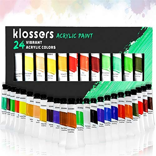 Klossers Acrylic Paint Set-24 Vibrant Colors/Tubes (22 ml, 0.74 oz.)- Rich Pigments-Acrylic Paint Perfect for Canvas, Leather, Rocks, Glass-Non Toxic-Artist Quality Acrylic Paints-for Adults or Kids