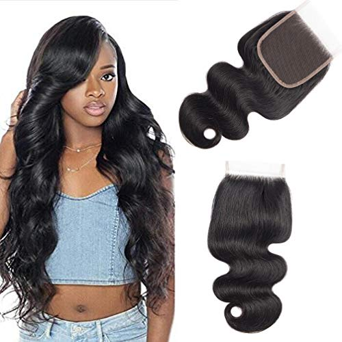 10A Brazilian Closure Body Wave 100% Unprocessed Virgin Human Hair Lace Closure 4X4 Free Part Natural Black (10 inch, Natural Color) (10 Inch And 12 Inch Sew In)