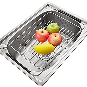Adjustable Large Over Sink Dish Rack Dish Drying Rack, Stainless Steel Dish  Drainer Functional Kitchen
