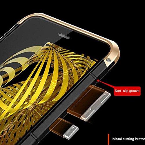 Hanbaili Funda protectora para Huawei P10, cubierta de PC Slim parachoques metálica resistente, a prueba de golpes, resistente a los arañazos, antideslizante Gold black