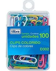 Clips 29mm D302 Cores Sortidas 100 Unidades,Tilibra - 1 un