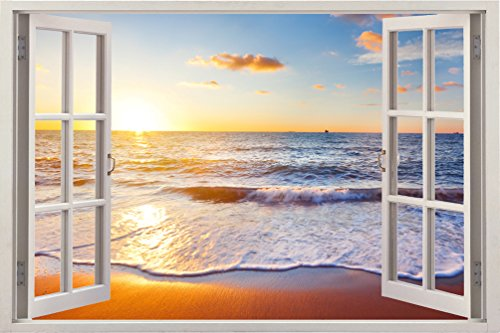 removable wall decals huge vinyl mural 3d window view stickers large nature poster 33 5 x. Black Bedroom Furniture Sets. Home Design Ideas