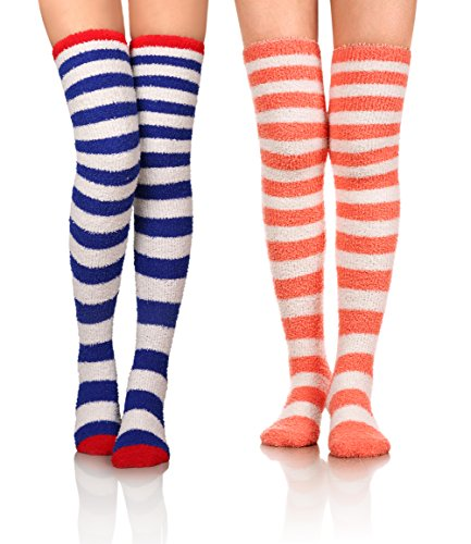 Stocking Christmas Soft (DoSmart Womens Soft Warm Coral Velvet Knee High Stockings Fuzzy Socks for Christmas Gift 2 Pairs (2 Pairs Striped))