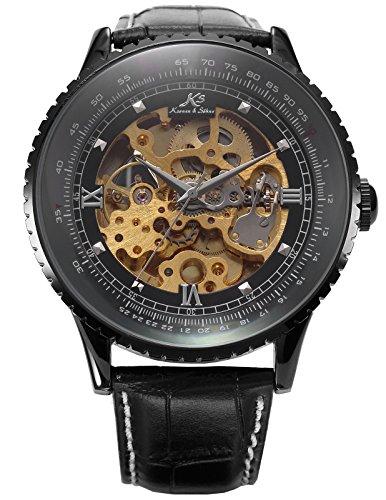 Kronen Soehne Genuine Leather Black Round man mens Analog Mechanical Automatic Wrist Watch