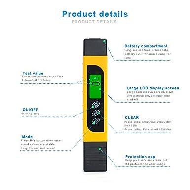 ... de calidad del agua TDS medidor de agua con función de TDS & EC & Temp range 0 - 9999ppm Medidor de precisión con funda protectora para pruebas de ...