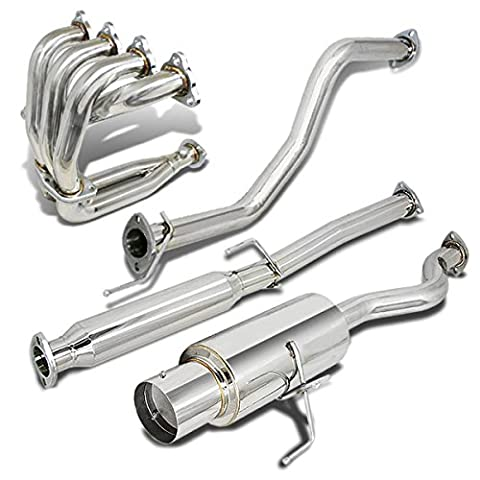 Honda Civic Catback Exhaust+4-2-1 Header Manifold+Extension Adaptor - Hatchback EG EH (Chrome)
