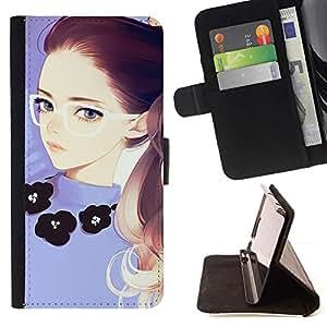 Momo Phone Case / Flip Funda de Cuero Case Cover - Chica pelirroja Gafas púrpura inteligente - LG G2 D800