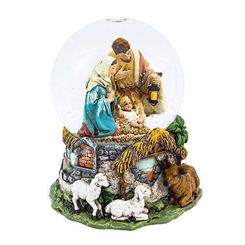Snowglobe Nativity Scene (Kurt Adler Holy Family Musical Water Globe, 100mm)