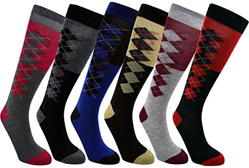 Enimay Womens Knee High Socks 1 Dozen 12 Pairs Vertical Argyle