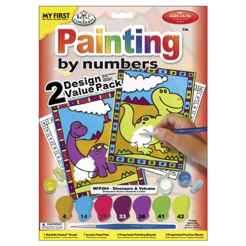 Royal Brush My First Paint By Number Kit 8.75 by 11.375-Inch 2-Pack-Dinosaurs and Volcano