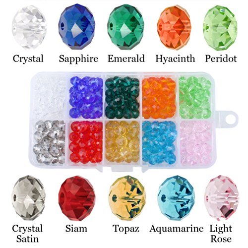 Faceted Donut Crystal (JewelrieShop Bling Bling DIY Faceted Bicone Crystal Glass Beads for Bracelet Necklace Bags Ear Rings)