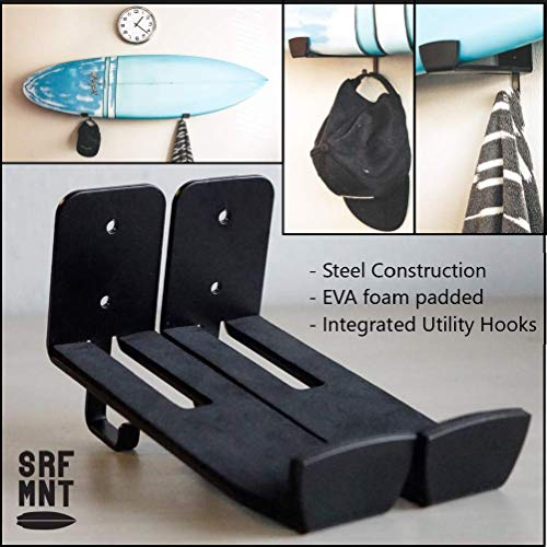 SRF MNT - Surfboard Surf Wall Racks/Mount/Shelf/Storage with Utility Hooks for Surfboard, Paddleboard, surf, SUP