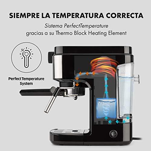 Klarstein BellaVita Espresso - Máquina de espresso , 1575 vatios , 20 bar , FullPressure , Capacidad de 900ml , One Touch Control , Boquilla de vapor ...