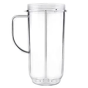QT Tall 22oz Replacement Part Cup Mug with handle For 250w Magic Bullet On-The-Go Mug