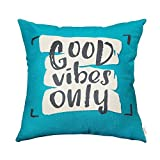 Fjfz Good Vibes Only Motivational Sign Décor Inspirational Quote Decoration Cotton Linen Home Decorative Throw Pillow Case Cushion Cover with Words for Sofa Couch, Teal and Turquoise, 18' x 18'