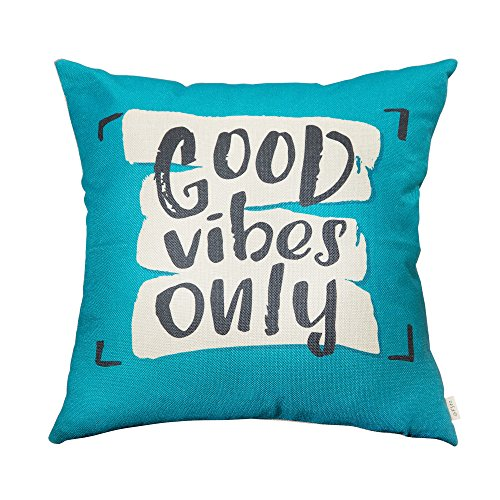 Fjfz Good Vibes Only Motivational Sign Inspirational Quote Cotton Linen Home Decorative Throw Pillow Case Cushion Cover with Words for Sofa Couch, Teal and Turquoise, 18