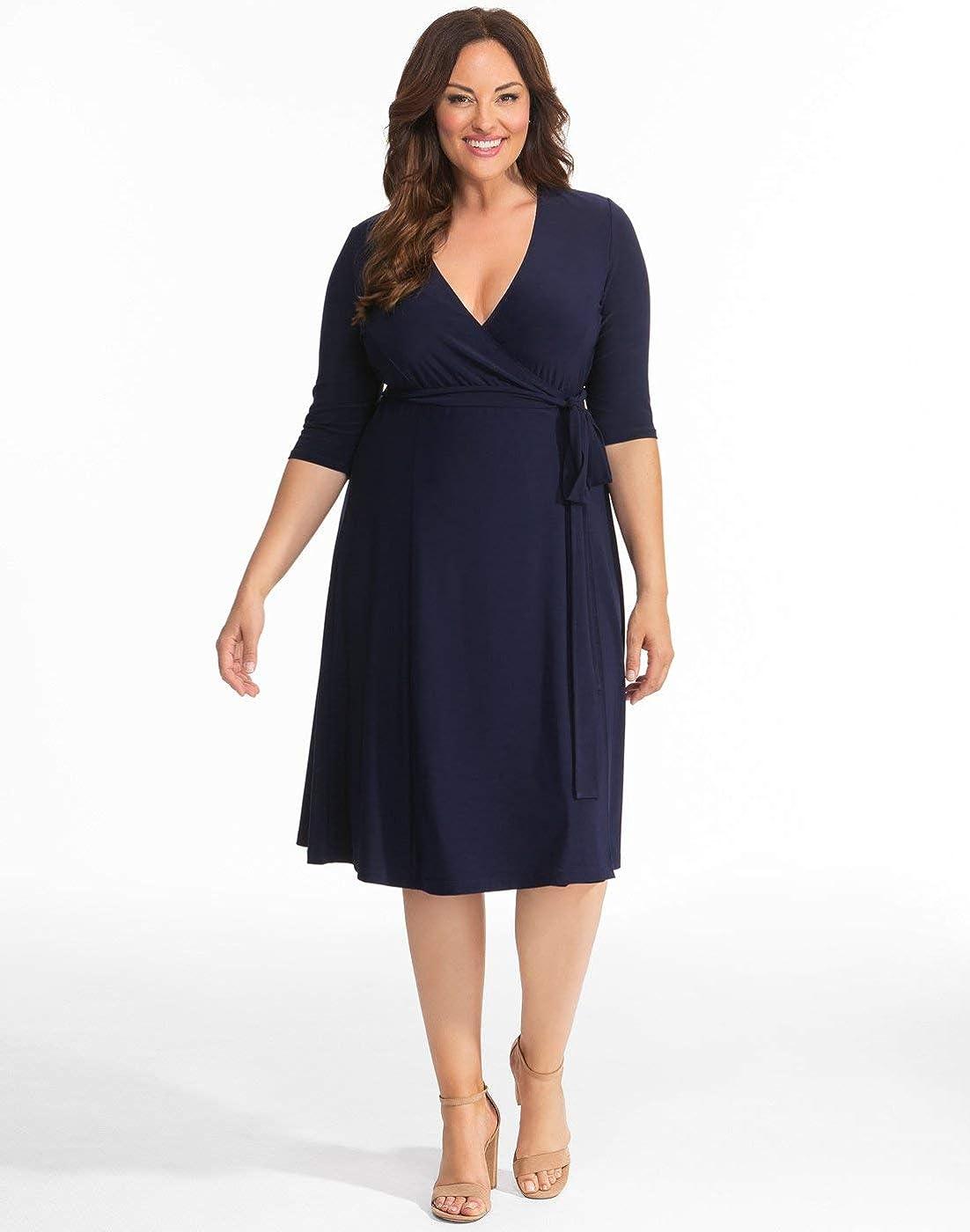 Kiyonna Holiday Special Plus Size Women's Essential Wrap Dress Nouveau Navy