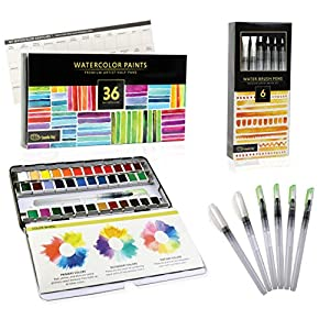 Watercolor Paint Set for Artists On-The-Go! Value Bundle Includes 36 Half Pans of Vibrant Water Color Palettes + 6 Refillable Water Brush Pen.