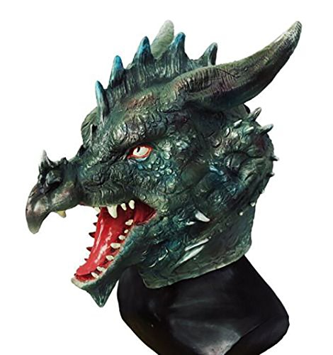 Creepy Dragon Latex Mask Dragon Animal Full Head Fancy Dress Up Halloween Party Costume Mask