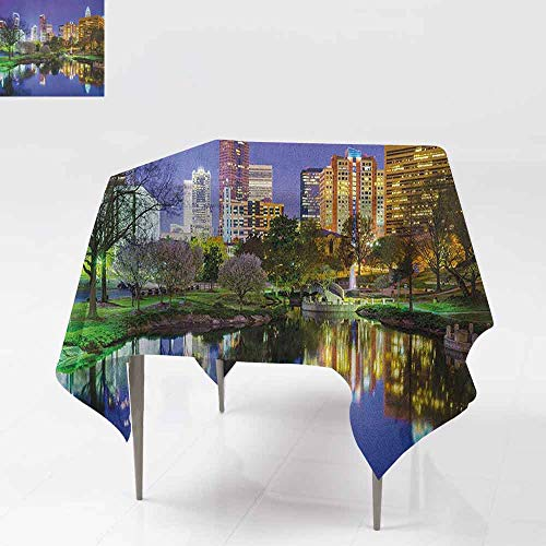 AndyTours Square Table Cloth,City,North Carolina Marshall Park United States American Night Reflections on Lake Photo,Party Decorations Table Cover Cloth,60x60 Inch Multicolor -