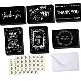 Ohuhu Thank You Cards, 48 Thank U Greeting Cards Folded Thank You Blank Note Cards of 6 Designs W/ 48 Envelopes and 48 Stickers for Wedding, Graduation, Baby Shower, 4 x 6in Black and White Chalkboard