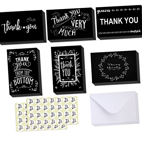 Graduation Thank You Cards (Ohuhu Thank You Cards, 48 Thank U Greeting Cards Folded Thank You Blank Note Cards of 6 Designs W/ 48 Envelopes and 48 Stickers for Wedding, Graduation, Baby Shower, 4 x 6in Black and White Chalkboard)
