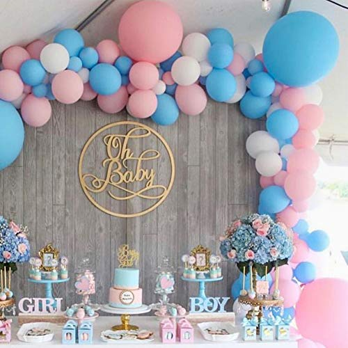 Matte Box System Kit - PartyWoo Pink and Blue Balloons 100 pcs 10 Inch Baby Blue Balloons Baby Pink Balloons Matte White Balloons Gender Reveal Party Supplies for He or She Gender Reveal, Boy or Girl Party, Baby Shower Pink