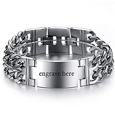 XIAOHA Men S Bracelet Wide Wristband Chain Bracelets Men Boy Punk Stainless Steel Personalized Engraved Name Unique Bracelets Bangle For Male Estimated Price £25.99 -
