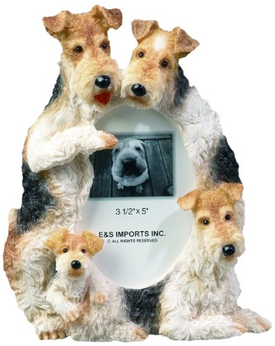 Wire Fox Terrier Gift Picture Frame Holds Your Favorite 3x5 Inch Photo, A Hand Painted Realistic Looking Wire Fox Terrier Family Surrounding Your Photo. This Beautifully Crafted Frame is A Unique Accent to Any Home or Office. The Wire Fox Terrier Picture Frame Is The Perfect Gift For Wire Fox Terrier Owners And Lovers!