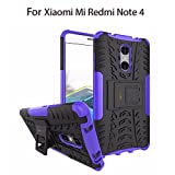 Heartly Xiaomi Mi Redmi Note 4 Back Cover Kick Stand Rugged Shockproof Tough Hybrid Armor Dual Layer Bumper Case - Frame Purple