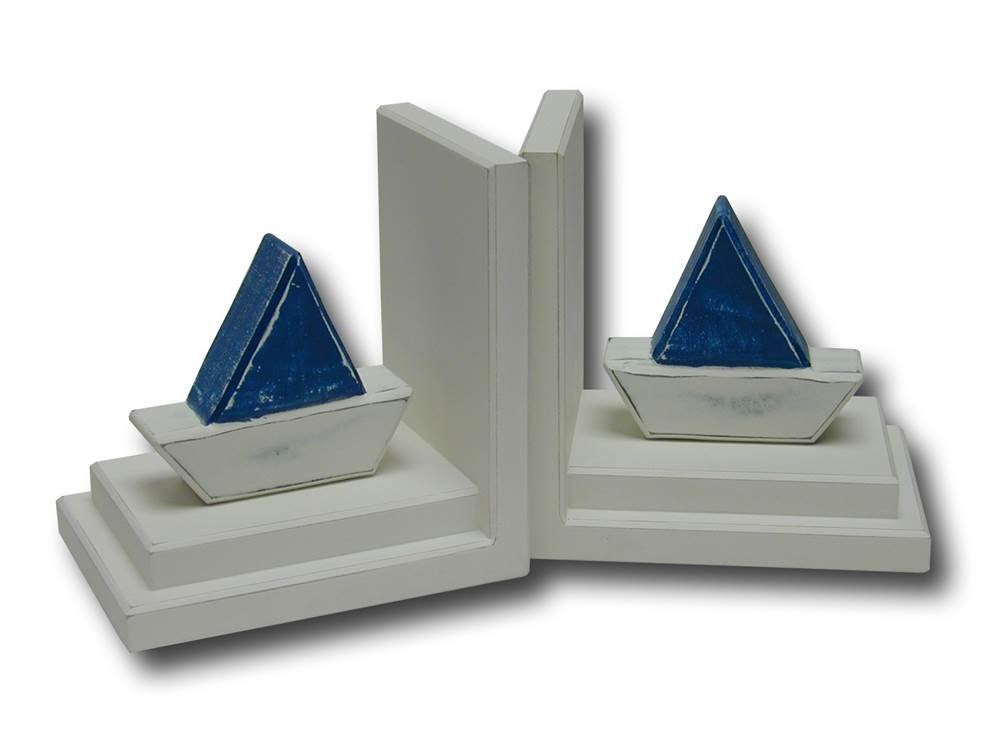Distressed Barco Bookends in White Base (Blue)