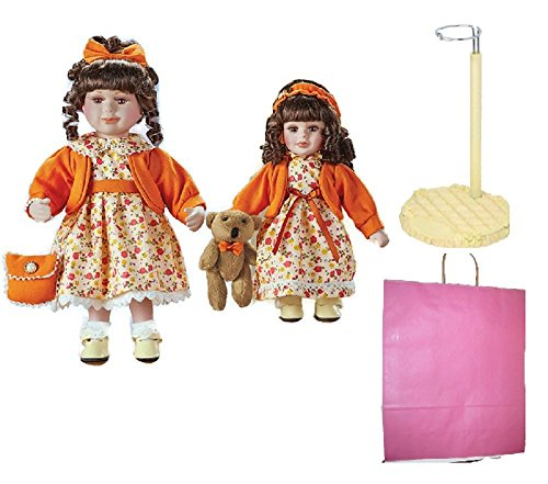 Sister Dolls with Floral Dresses, Doll Stand and Gift Bag Bundle