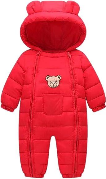 Happy childhood Baby Boys Girls Adorable Hoodie Jumpsuit Snowsuit Winter Zip Up Long Sleeve One Piece Jacket Coat