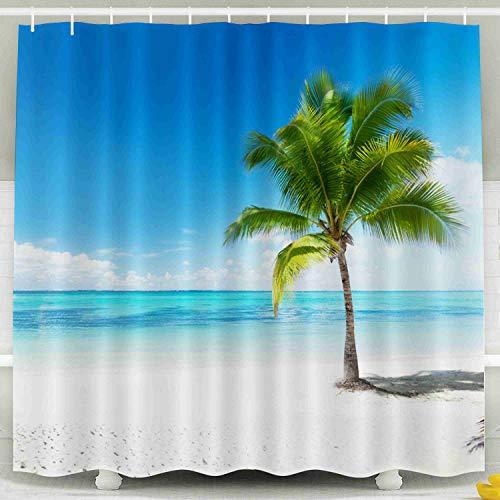 - Shorping 78x72 Shower Curtain,Kids Shower Curtain, Palm Beach Waterproof Decor Bathroom Set with Hooks
